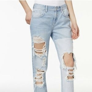 GUESS Blue Boy Fit Ripped Destroy Wash Jeans 28